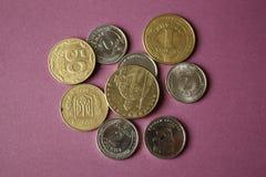 Pièces de monnaie ukrainiennes d'isolement sur le fond pourpre Plan rapproché Image conceptuelle photos stock