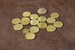 Pièces de monnaie ukrainiennes sur la surface en cuir Photographie stock libre de droits