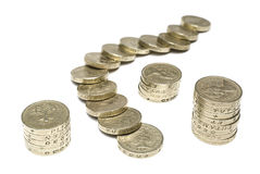 pièces de monnaie une livre Image libre de droits