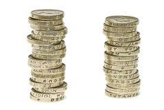 pièces de monnaie une livre Images libres de droits