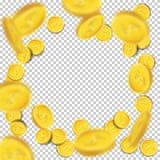 Pièces de monnaie de vol de vecteur sur le fond transparent Photo stock