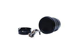Pièces de réparation de l'appareil-photo de lentille simple d'isolement Photos libres de droits