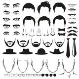 Pièces de visage d'hommes Yeux, nez, moustaches, verres, chapeaux, lèvres, coiffure, liens et barbes Ensemble de vecteur illustration libre de droits