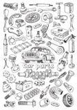 Pièces de voiture dans le style de dessin de dessin à main levée Photographie stock