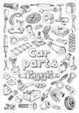 Pièces de voiture dans le style de dessin de dessin à main levée Image libre de droits