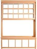 pièces Double-accrochées de fenêtre. Double Hung Windows en bois. Photo libre de droits