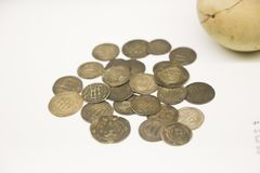 Pièces en argent au Musée National géorgien - Tbilisi Photographie stock