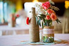Pièces maîtresses de Tableau de réception de mariage Images stock