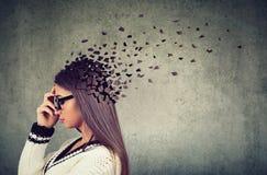 Pièces perdantes de femme de tête comme symbole de fonction diminuée d'esprit images libres de droits