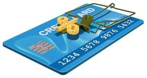 Piège de carte de crédit Fromage exempt d'intérêts de banque dans la souricière à clapet Images libres de droits