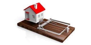 Piège de prêt immobilier Chambre sur un piège de souris d'isolement sur le fond blanc illustration 3D Photos libres de droits