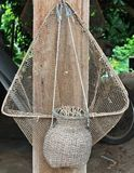 Piège en bambou de poissons Photo stock
