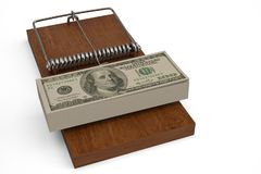 Piège et dollars d'argent sur le piège de souris illustration 3D Illustration Libre de Droits