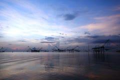 Piège traditionnel thaïlandais de pêche Images stock