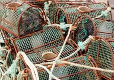 Pièges de poulpe au port Image libre de droits