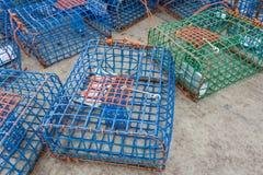 Pièges en plastique de poulpe et de crabe Photos libres de droits