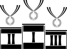 Piédestal avec des médailles Photo libre de droits