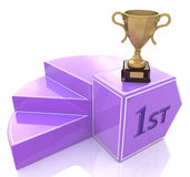 Piédestal avec la tasse de champions de trophée d'or Image stock