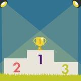 Piédestal avec la tasse de trophée Illustration de vecteur Image libre de droits