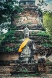 Piédestal de sculpture antique en Bouddha à Ayutthaya Photos libres de droits