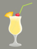 Piña Colada in a Glass. Piña Coloda in a cocktail glass with a pineapple chunk, cherry, and green straw. Isolated against a gray background Stock Image