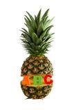 Piña con el ABC de las letras aislada Imagenes de archivo