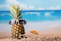 Piña con las gafas de sol cerca de pequeños corazones en la playa arenosa Foto de archivo libre de regalías