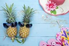 Piña con las gafas de sol, los zapatos de la playa y el sombrero hermoso en la madera Imagen de archivo