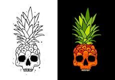 Piña de la fruta del cráneo Concepto del tatuaje libre illustration