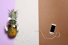 Piña divertida con los auriculares, smartphone y las gafas de sol en el fondo del color, endecha plana imágenes de archivo libres de regalías