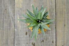 Piña fresca en fondo de madera Visión superior Foto de archivo libre de regalías