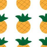 Piña inconsútil del verano en el fondo blanco modelo inconsútil en vector Ejemplo de la fruta ilustración del vector