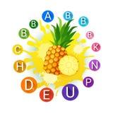 Piña sobre los productos agrícolas frescos de la comida de Juice And Vitamins Logo Natural del fondo del chapoteo de la pintura Fotografía de archivo libre de regalías