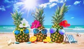Piñas atractivas en gafas de sol elegantes en la arena contra Imagenes de archivo