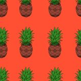 Piñas en el ejemplo inconsútil del fondo anaranjado libre illustration