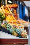 Piñas frescas en mercado parisiense del granjero Imagen de archivo