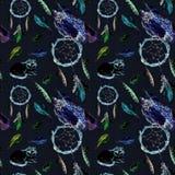Piórka, sowa, kot, dreamcatcher, czarny tło deseniowy target101_0_ Obraz Stock