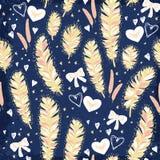 Piórka z różowych łęków wektoru bezszwowym wzorem Obraz Royalty Free