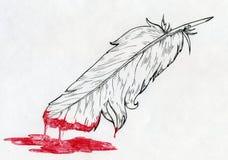 Piórko zamaczający w krwi lub czerwonej farbie Fotografia Royalty Free