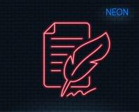 Piórkowa podpis linii ikona Copywriting znak ilustracja wektor