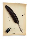 piórkowego inkwell stara papierowa dutka Obrazy Royalty Free