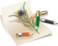 piórkowi ołówki Zdjęcia Royalty Free