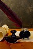 Piórkowy pióro i atrament Zdjęcia Stock