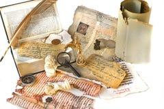 piórkowy rękopiśmienny stary papier Obrazy Royalty Free