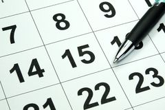 Pióro i kalendarz obrazy stock