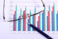 Pióro i szkła na pieniężnym wykresie, biznesowy pojęcie zdjęcie stock