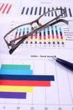 Pióro i szkła na pieniężnym wykresie, biznesowy pojęcie zdjęcie royalty free