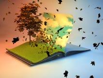 Pióro książka z drzewem na stronie Obrazy Royalty Free