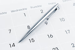 Pióro na kalendarzu Obrazy Stock