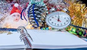 Pióro na nowego roku ` s dzienniczku Obraz Stock